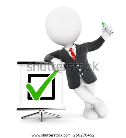 3d white people businessman positive check, isolated white background, 3d image - stock photo