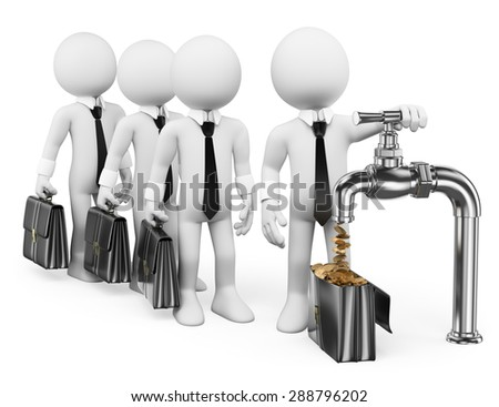 3d white people. Businessman turning on the money tap. Isolated white background. - stock photo