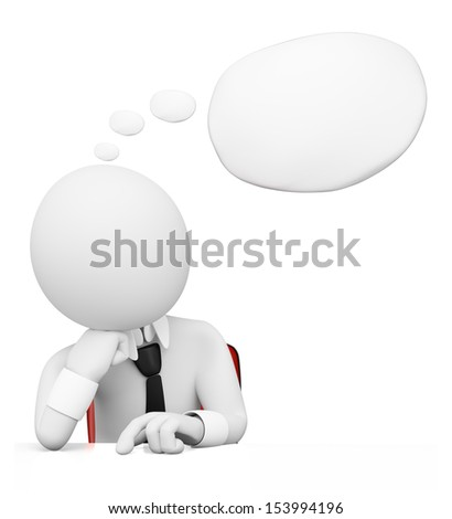 3d white people. Businessman with a blank thought bubble to fill with text. Isolated white background.