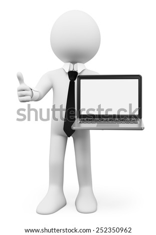 3d white people. Businessman with a laptop with blank screen. Isolated white background. - stock photo