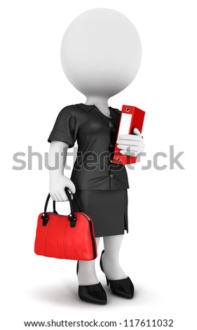 3d white people businesswoman with a file and a handbag, isolated white background, 3d image