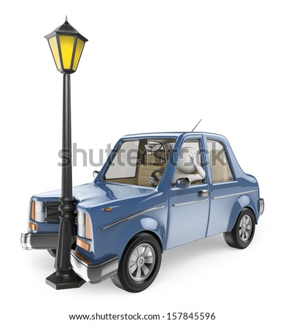 3d white people.Car crash into a lamppost. Isolated white background. - stock photo