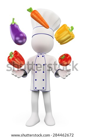 3d white people. Chef juggling with vegetables. Pepper, eggplant, carrots and tomatoes. Isolated white background.  - stock photo