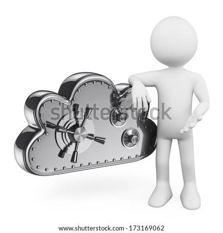 3d white people. Cloud Security. Cloud as a safe box. Technological metaphor. Isolated white background.  - stock photo