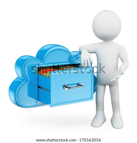 3d white people. Cloud storage services. Keeping folders in the cloud like a file cabinet. Technological metaphor. Isolated white background. - stock photo