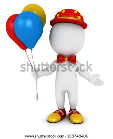 3d white people clown with balloons, isolated white background, 3d image - stock photo