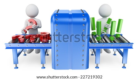 3d white people. Conveyor where questions become answers. Isolated white background. - stock photo