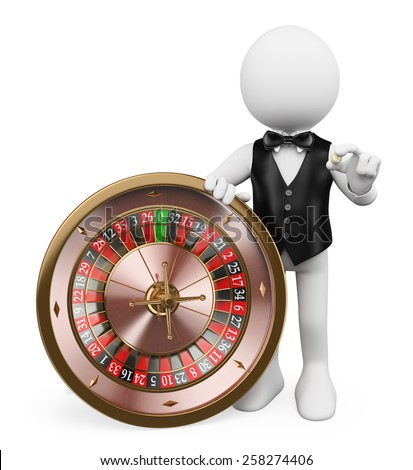 3d white people. Croupier with roulette in a casino. Isolated white background. - stock photo