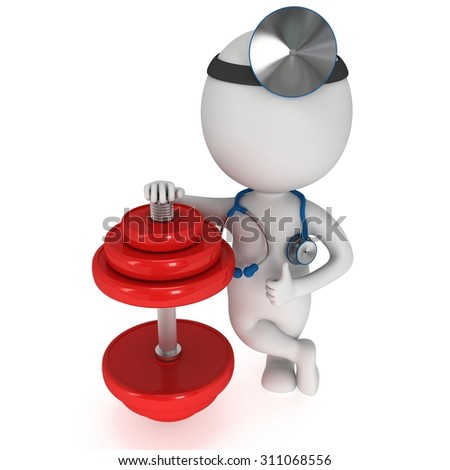 3d white people doctor with a stethoscope and red dumbbell. 3d render isolated on white. Fitness and physiotherapy concept.
