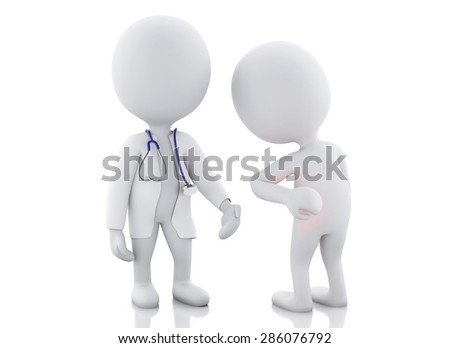 3d white people doctor with stethoscope checking people with back pain in red zone. Isolated white background
