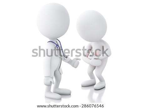3d white people doctor with stethoscope checking people with stomach ache in red zone. Isolated white background