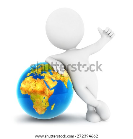3d white people earth, isolated white background, 3d image - stock photo