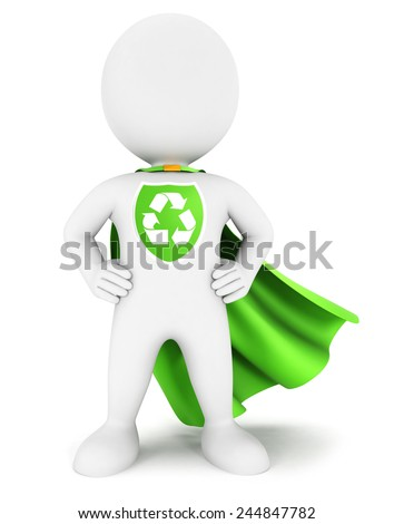 3d white people ecological superhero with recycle sign, isolated white background, 3d image - stock photo
