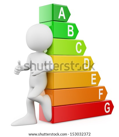 3d white people. Energy efficiency ratings. Isolated white background.  - stock photo