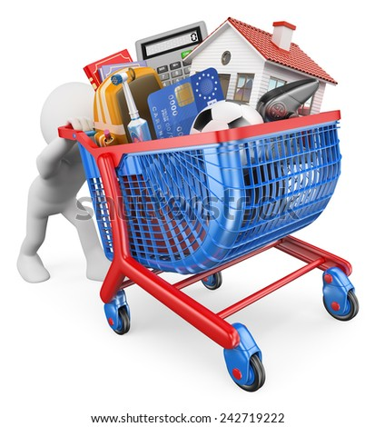 3d white people. Expenses post holiday. Man pushing a shopping cart uphill. Isolated white background.  - stock photo