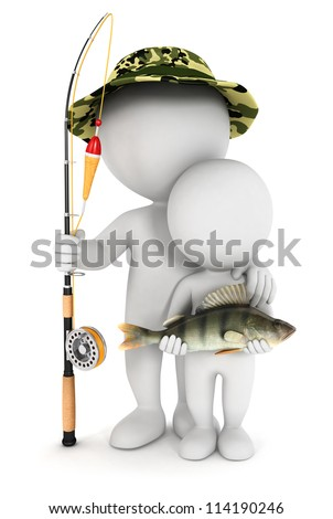 3d white people fishing with his son and caught a perch fish, isolated white background, 3d image - stock photo