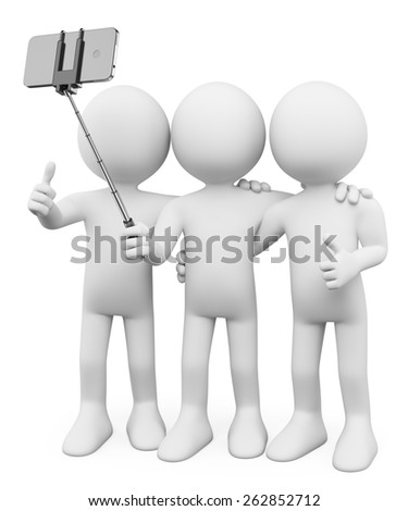 3d white people. Friends taking a photo with a selfie stick. Isolated white background.