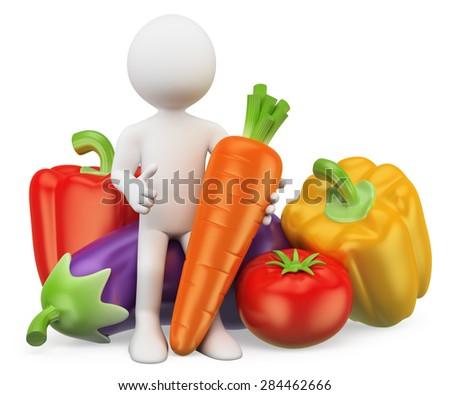 3d white people. Healthy food concept. Vegetables. Pepper, eggplant, carrots and tomatoes. Isolated white background.  - stock photo