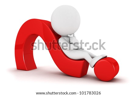 3d white people looks for an idea lying on a red question mark, isolated white background, 3d image - stock photo