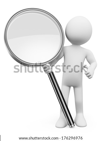 3d white people. Magnifying glass. Search concept. Isolated white background.  - stock photo