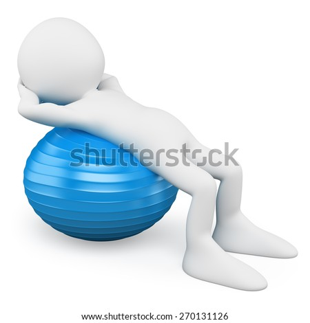 3d white people. Man exercising with a blue aerobics ball. Isolated white background. - stock photo