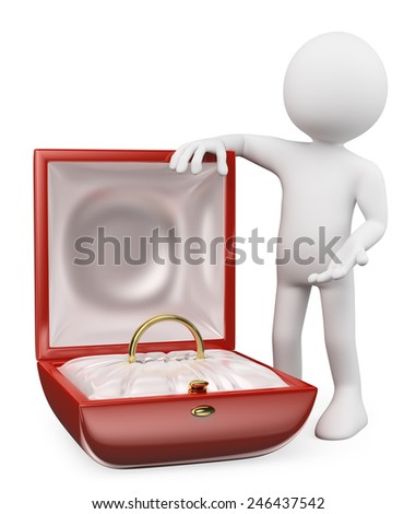 3d white people. Man giving an engagement ring on valentines day. Isolated white background. - stock photo
