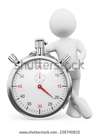 3d white people. Man pressing the button of a stopwatch. Isolated white background. - stock photo
