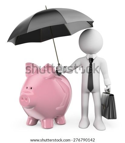 3d white people. Man protect his savings with a umbrella. Piggy bank. Isolated white background. - stock photo