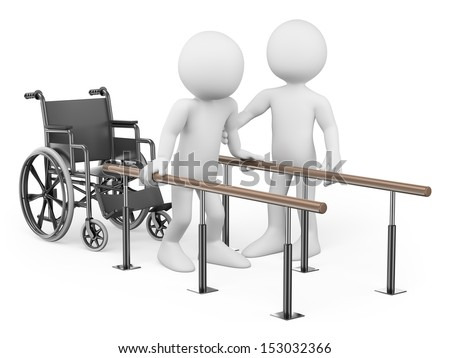 3d white people. Man recovering from his injury in rehabilitation center with a physical therapist. Isolated white background.  - stock photo