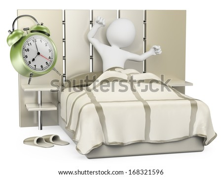 3d white people. Man waking up in the morning to go to work. Isolated white background.  - stock photo