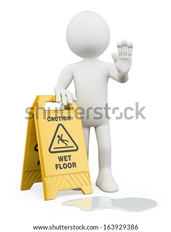 3d white people. Man with a caution wet floor sign. Isolated white background.  - stock photo