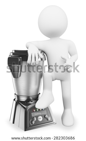 3d white people. Man with a modern food processor. Cooking robot. Isolated white background.