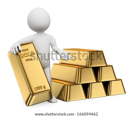 3d white people. Man with lots of gold bullion. Ingots. Isolated white background. - stock photo