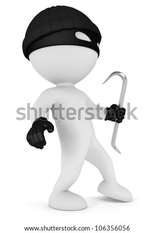 3d white people masked thief with a crowbar and black gloves, isolated white background, 3d image - stock photo