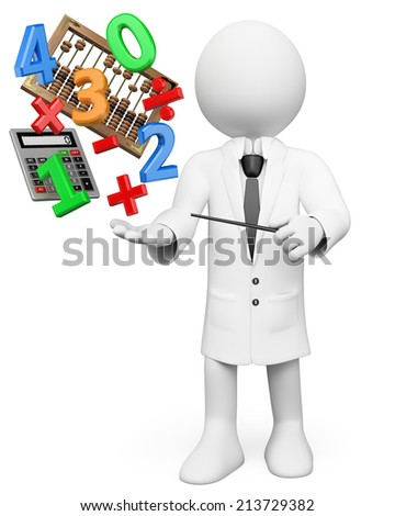 3d white people. Math Teacher with calculator abacus numbers and symbols. Isolated white background. - stock photo