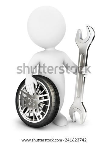 3d white people mechanic, isolated white background, 3d image - stock photo