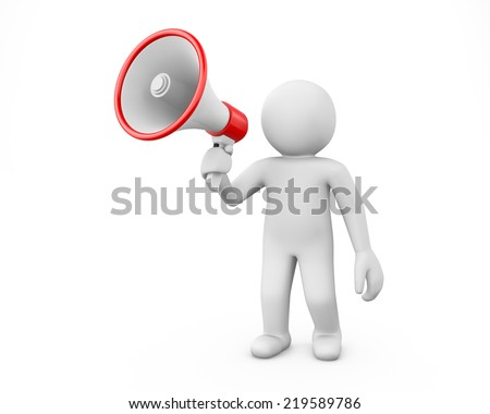 3d white people megaphone - Stock Image