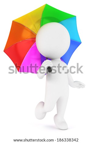 3d white people multicolored umbrella, isolated white background, 3d image - stock photo
