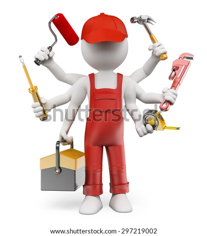 3d white people. Multitasking handyman with screwdriver tool box tape measure hammer wrench pipes paint roller. Isolated white background. - stock photo