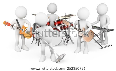 3d white people. Music group playing live. Isolated white background. - stock photo