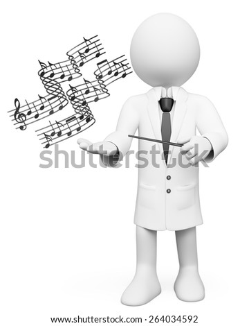 3d white people. Music teacher with stick and musical notes. Isolated white background.
