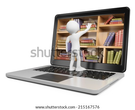 3d white people. New technologies. Digital Library concept. Laptop. Isolated white background. - stock photo