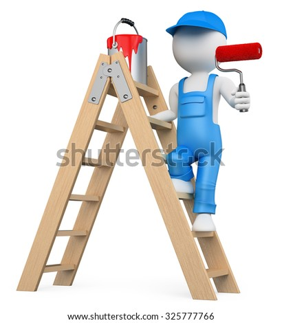 3d white people. Painter on a ladder painting with a roller brush. Isolated white background. - stock photo