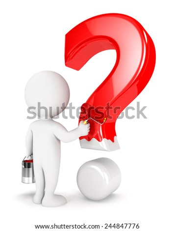 3d white people painting question mark, isolated white background, 3d image - stock photo