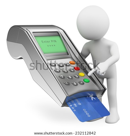 3d white people. Paying with a credit card in a bank terminal. Isolated white background. - stock photo