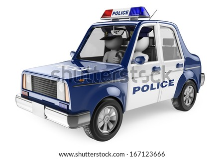 3d white people. Policemen patrolling in a police car. Isolated white background.  - stock photo