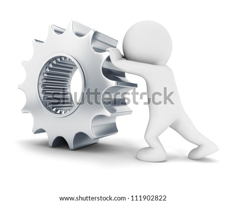 3d white people pushes a metal gear, isolated white background, 3d image - stock photo