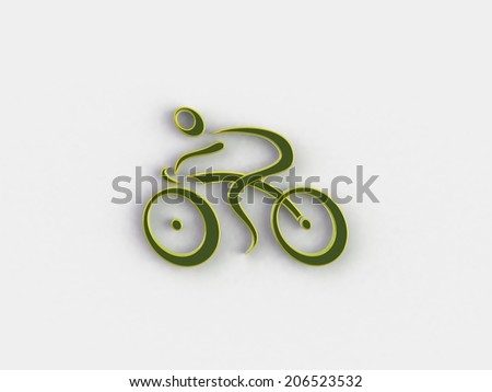 3d white people racing cyclist , isolated white background, 3d image - stock photo