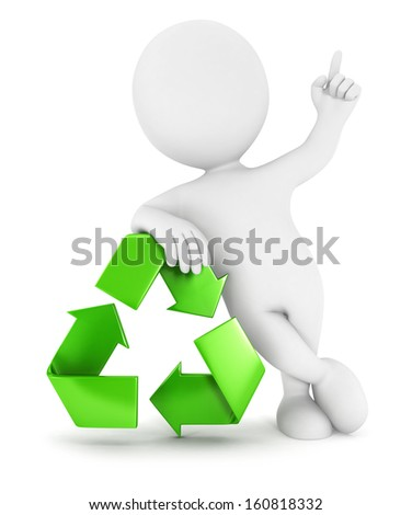 3d white people recycle sign, isolated white background, 3d image - stock photo