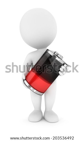 3d white people red battery, isolated white background, 3d image